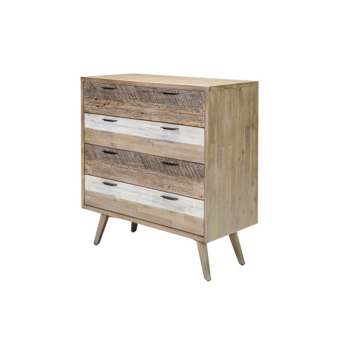 CUBAN TALLBOY 4 DRAWER - ACACIA -1050(H) X 1000(W)- GREY SHADE