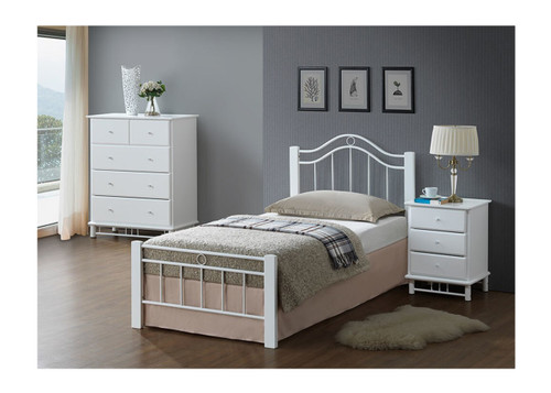 CRYSTAL SINGLE OR KING SINGLE 3 PIECE BEDROOM SUITE WITH 3 DRAWER BEDSIDE - WHITE
