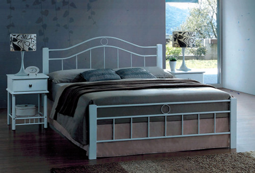 CRYSTAL DOUBLE OR QUEEN 3 PIECE BEDSIDE BEDROOM SUITE (WITH 1 DRAWER BEDSIDES) - WHITE