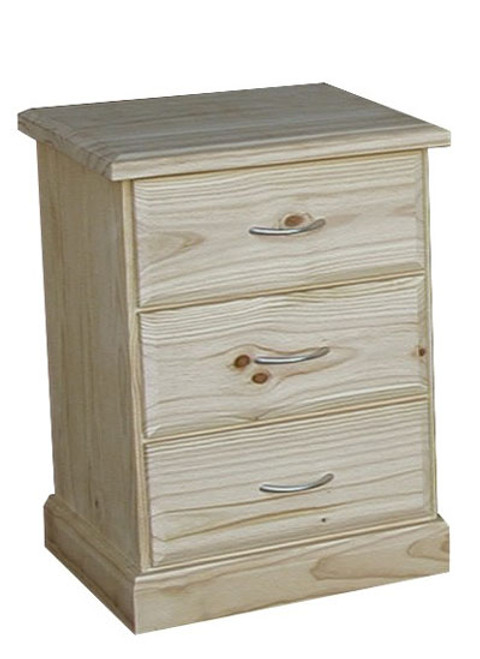 AVOCA CAV113 3 DRAWER BEDSIDE - 590(D) - ASSORTED COLOURS AVAILABLE