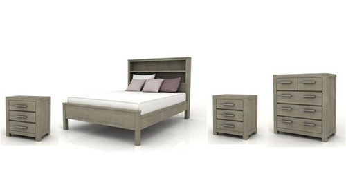 KENDALL KING 4 PIECE (TALLBOY) BEDROOM SUITE (BOOKCASE BED) - BRUSHED LIGHT GREY