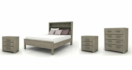 KENDALL KING 4 PIECE TALLBOY BEDROOM SUITE (BOOKCASE BED) - BRUSHED LIGHT GREY