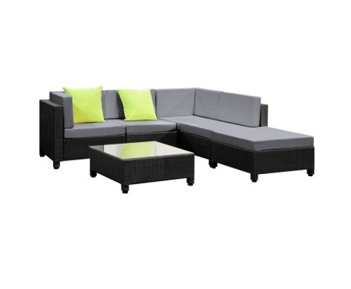 DOMINO 6 PIECE BLACK WICKER RATTAN 5 SEATER OUTDOOR LOUNGE SET GREY