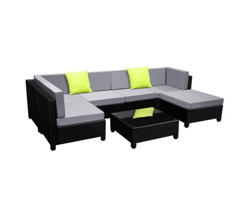 DOMINO 7 PCS BLACK WICKER RATTAN 6 SEATER OUTDOOR LOUNGE SET GREY