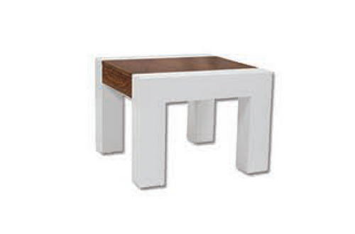 NORA  SIDE TABLE  - 550(H) X 600(W) X 580(D) - ANTIQUE OAK /HIGH GLOSS WHITE