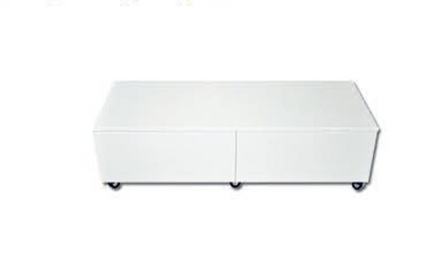 TERESA COFFEE TABLE  ON CASTORS -  900(W) X 500(D) - HI GLOSS WHITE