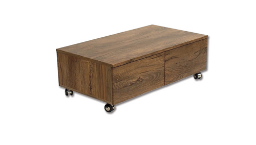 TERESA COFFEE TABLE  ON CASTORS - 900(W) X 500(D)-ANTIQUE OAK