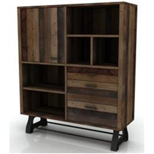 DISTILLERY HIGHBOARD 3 DRAWER 1 DOOR 1410(H) x 1200(W)- RECYCLED PINE - DRIFTWOOD