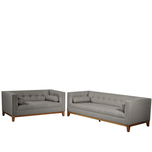 CALVIN THREE (3) + TWO (2) SEATER LOUNGE SUITE - LIGHT GREY