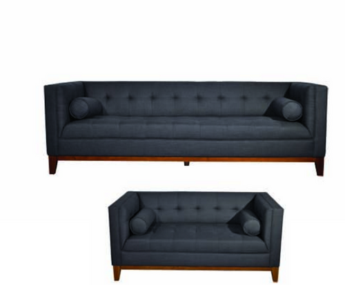 CALVIN THREE (3) + TWO (2) SEATER LOUNGE SUITE - DARK GREY