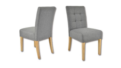 JESSIE  FABRIC DINING CHAIR  -  SET OF 2 - CHARCOAL