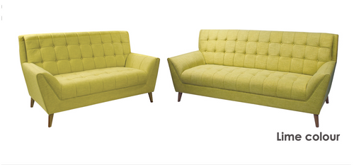 EDWARD THREE (3) + TWO (2) SEATER LOUNGE SUITE - LIGHT GREEN OR KHAKI