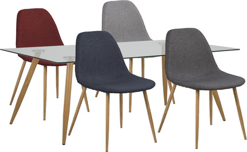 WESLEY 7 PIECE DINING SETTING 1400(L) x 800(W) - RED, BLUE, LIGHT GREY OR GREY