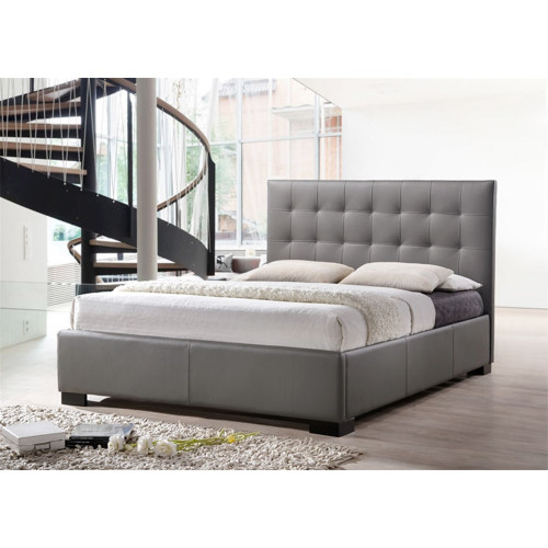 DOUBLE RAVEENA BED FRAME - LEATHER - BLACK
