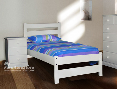 KING SINGLE DELUXE HAMILTON (AUSSIE MADE) BED - WHITE , ANTIQUE WHITE , WHITEWASH & BRUSHED COLOUR OPTIONS