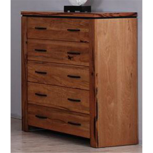 IVY 5 DRAWER TALLBOY - 1100(H) X 1000(W) - NATURAL FINISH