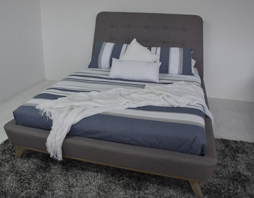 QUEEN JASPER FABRIC BED - GREY