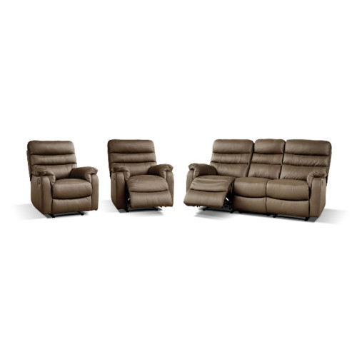 HUGO 3 SEATER WITH 2R + 1 R+ 1 R – LEATHER – BLACK