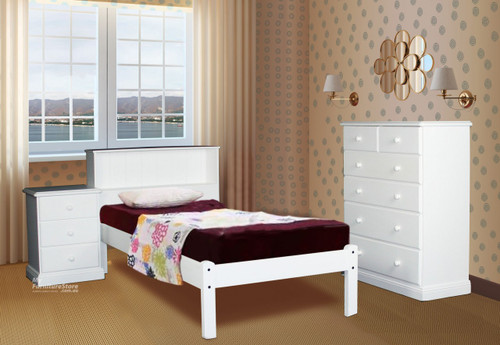 BOOKEND DELUXE 3 PIECE DOUBLE OR QUEEN BEDSIDE BEDROOM SUITE WITH MATCHING SAVANNAH CASE GOODS - WHITE OR ANTIQUE WHITE