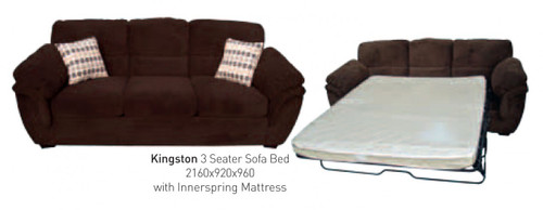KINGSTON 3 SEATER SOFA BED - DARK BROWN