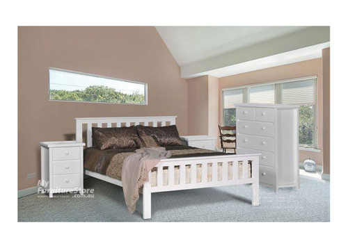 KING SINGLE FEDERATION BED WHITE MATCHING FOOT END - WHITE