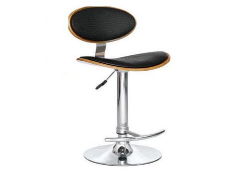 LOKO BENTWOOD LEATHERETTE BAR STOOL - (VJY-1009) - SEAT: 645 - 865(H) - BLACK / WALNUT