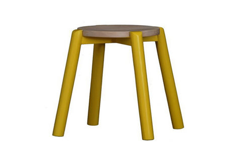 WILLOW (BR048ROWSY) WOODEN ROUND BARSTOOL / KITCHEN BENCH - SEAT: 480(H) - YELLOW / WASHED