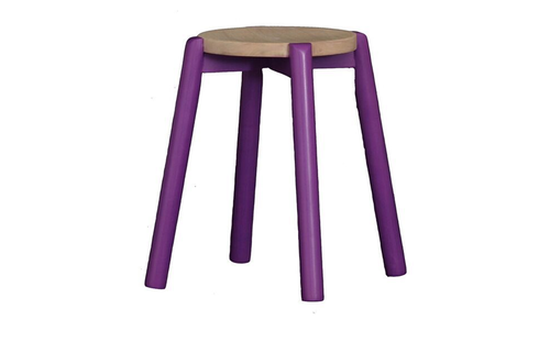 WILLOW (BR048RO) WOODEN ROUND BARSTOOL / KITCHEN BENCH - SEAT: 480(H) - PURPLE / WASHED