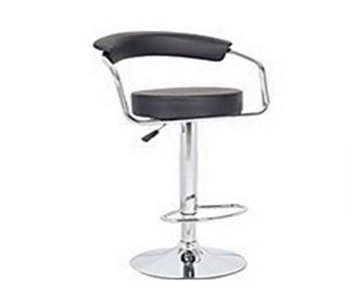 CONTEMPORARY  HALF MOON LEATHERETTE  BAR STOOLS - (BARS-22BK-ONE)   - SEAT: 860-1090(H) - BLACK