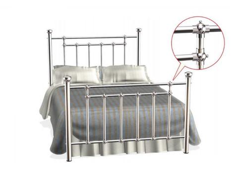 DOUBLE BELLA  NICKEL COATED STEEL  BED ( 1-19-20-15-14) -  MATT SILVER NICKEL COATING