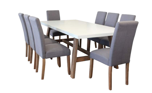 COPACABANA 9 PIECE DINING SETTING WITH 2100(L) X 1000(W) 8 PIECE ASHTON CHAIR