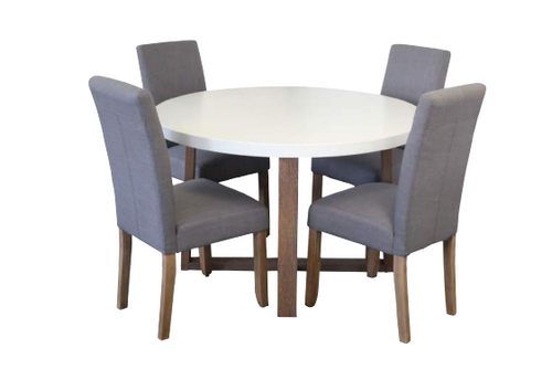 COPACABANA 5 PIECE ROUND DINING SETTING WITH ASHTON CHAIRS - 1200(DIA) - LIGHT GREY