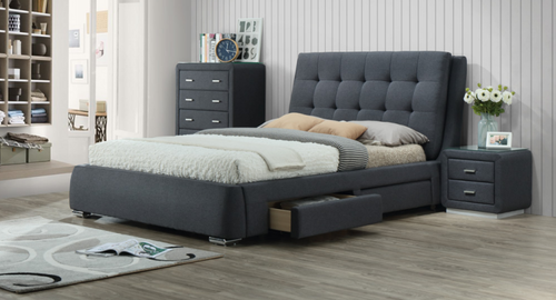 KING VARA FABRIC BED WITH 4 UNDERBED STORAGE DRAWERS - GREY
