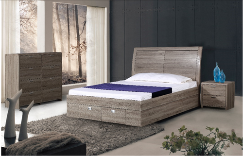 MOSSLAND KING WITH GASLIFT STORAGE 4 PIECE TALLBOY BEDROOM SUITE - AS PICTURED