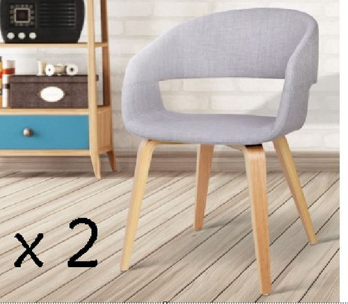 ABBIE SET OF 2 FABRIC UPHOLSTERED CHAIR  - LIGHT GREY