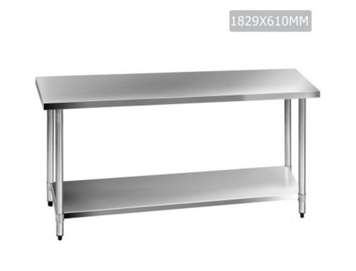 SMITH 430 STAINLESS STEEL KITCHEN/ WORK BENCH TABLE 1829(L) - STAINLESS