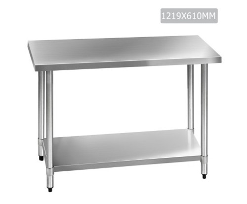SMITH 430 STAINLESS STEEL KITCHEN/ WORK BENCH TABLE - 890(H) x 1219(L) x 610(D) - STAINLESS