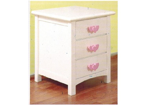 HEART 3 DRAWER BEDSIDE TABLE - SNOW
