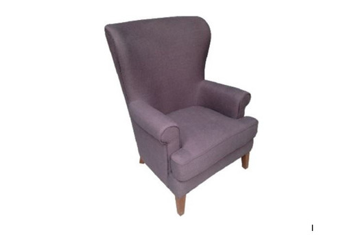 FIRESIDE HIGH BACK FABRIC UPHOLSTERED WING CHAIR - CHARCOAL