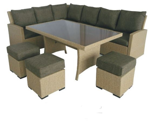 SWANSEA MODULAR  DINING SETTING WITH 1510(L) GLASS TOP TABLE