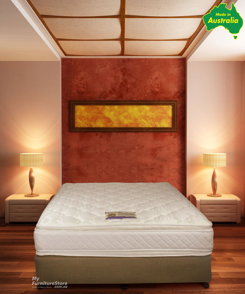 QUEEN EMBASSY ENSEMBLE (BASE & MATTRESS) (PRICED WITH MATCHING BASE - LINEN BASE (AS PICTURED) OPTIONAL EXTRA) - MEDIUM