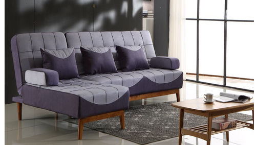 DEFANO II   (MODEL-4132 )  2 SEATER + LHS/RHS CHAISE  FABRIC CLICK CLACK SOFA BED   - ASSORTED COLOURS
