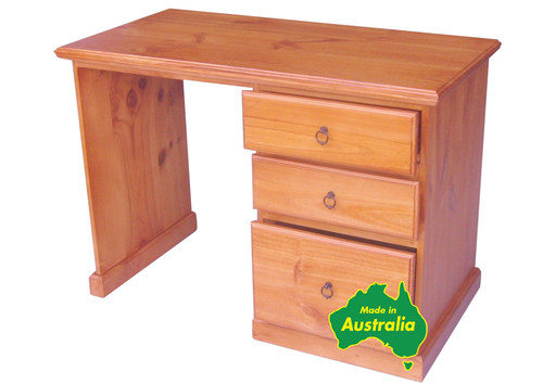 SINGLETON (AUSSIE MADE) 3 DRAWER THICK TOP DESK (4x2) WITH FILE DRAWER - 1200(W) X 600(D) - ASSORTED COLOURS