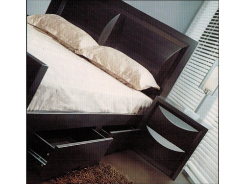 DOUBLE EVITA BED  WITH SIDE DRAWER - WALNUT