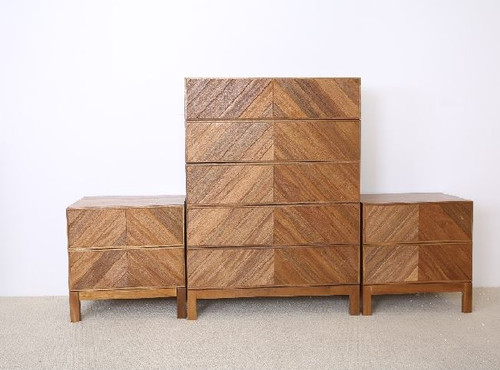KALISTA  3 PIECE CHEST SET - SOLID  AFRICAN OAK HARDWOOD - AS PICTURED