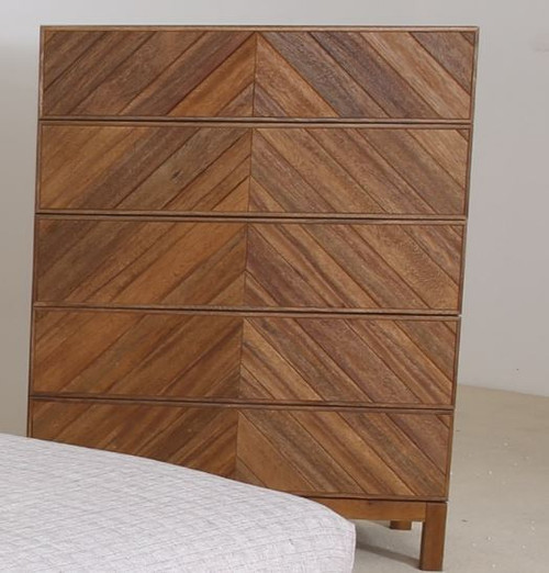 KALISTA  5 DRAWER TALLBOY SOLID  AFRICAN OAK HARDWOOD- 1200(H) X 950(W)  - AS PICTURED