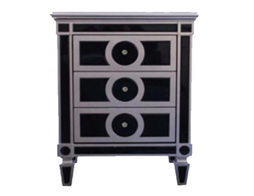 ART MICA BLACK  MIRROR 3 DRAWERS BEDSIDE TABLE - BLACK