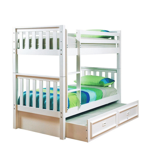 KING SINGLE SUSSEX / AWESOME BUNK BED WITH MATCHING SINGLE TEENAGE TRUNDLE BED (WITH CONVERSION KIT) - ARCTIC WHITE