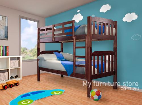 SINGLE SOMERSET (MODEL 1-4-5-12-1-9-4-5) BUNK BED - JARRAH