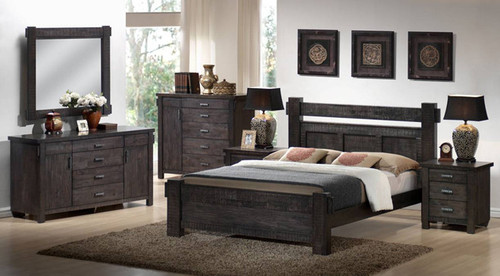 BUCKINGHAM (MODEL - 19-5-1-20-20-12-5) QUEEN 5 PIECE DRESSER BEDROOM SUITE - BLUE